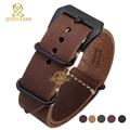 Cuero genuino correa de reloj de correa 24 mm marrón negro grueso pulsera band relojes de pulsera para hombre de sutura manual pulsera