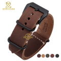 Genuine leather watchband watch strap  24mm Brown Black Thick wristwatches band mens wristwatches manual suture wristband
