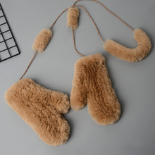 Luxury quality Ladies 100% Genuine Real Fur Gloves High Elastic Womens Knitted Rabbit Mittens 2019 Winter Warm