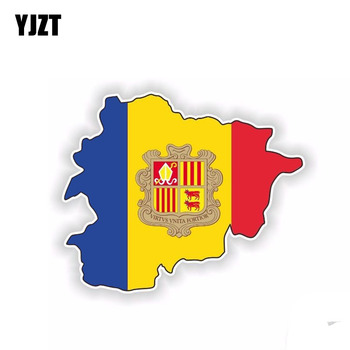 YJZT 13.6CM*11.2CM Creative Andorra Flag Map Accessories Car Sticker Decal 6-1509 image