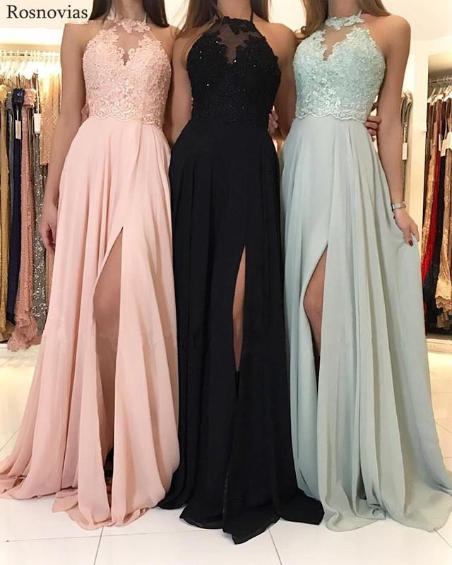 Chiffon   Bridesmaid     Dresses   2019 High Neck Side Split Sweep Train Lace Appliques Beaded Long Wedding Guest Party Gowns Cheap