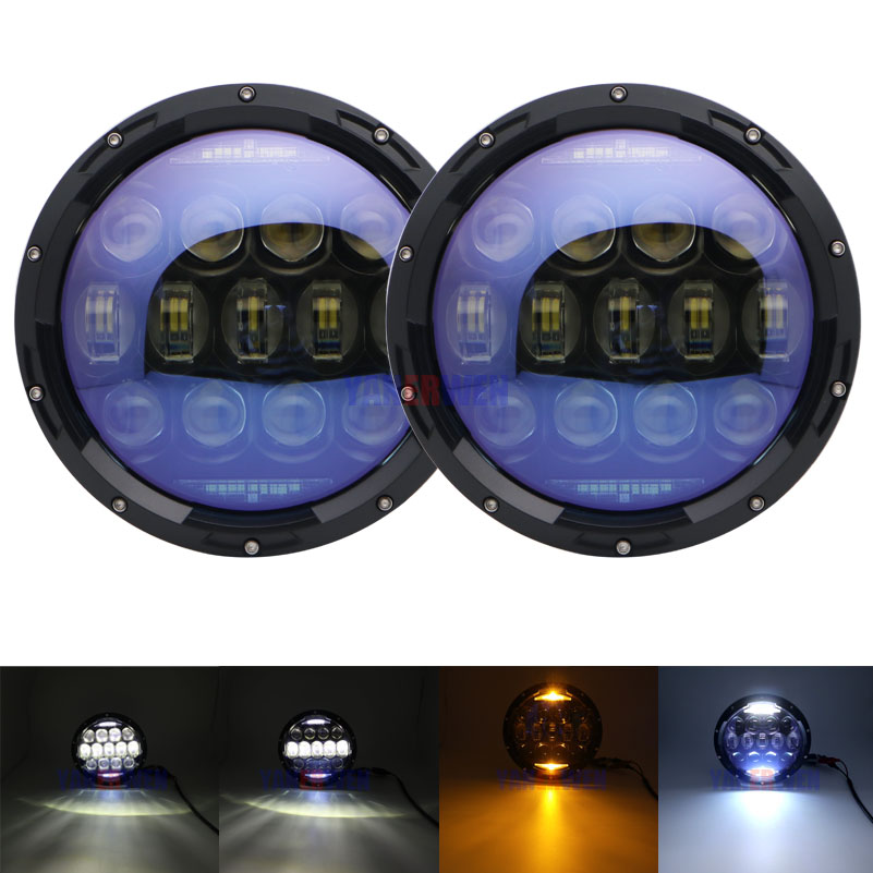 7 Inch 130W Round LED Headlights Blue Projector Lens with High Low Beam White DRL Amber Turn Signal for Jeep Wrangler JK CJ7 Inch 130W Round LED Headlights Blue Projector Lens with High Low Beam White DRL Amber Turn Signal for Jeep Wrangler JK CJ