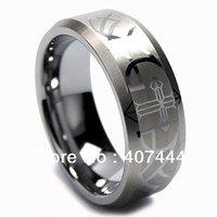 Бесплатная доставка США Лидер продаж уникальные 8 мм Вольфрам обручальное кольцо лазерной гравировкой крест и шип Дизайн размеры от 6 до 13