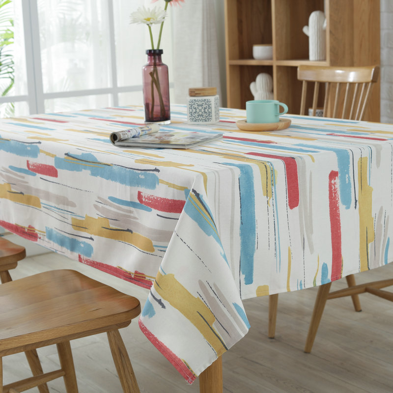 Senisaihon Pastoral Polyester Cotton Tablecloth Color Graffiti Dust proof Table cloth Wedding Banquet Rectangular Cover cloth in Tablecloths from Home Garden