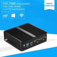 Newest Mini PC Computer Celeron J1800 2.41GHz Dual Lan N2840 Industrial Thin Client Fanless Design Micro Windows7 OS 2*RS232