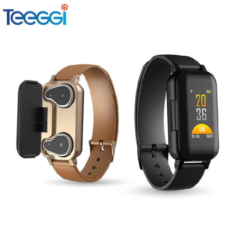 Teeggi <font><b>T89</b></font> <font><b>TWS</b></font> Bluetooth Earphone 5.0 Smart Bracelet Watch Binaural Health Heart Rate Monitoring Sports Smart Watch Men Women image