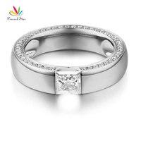 Peacock Star 14K White Gold 0.6 Carat Moissanite Diamond Wedding Band Ring for Women