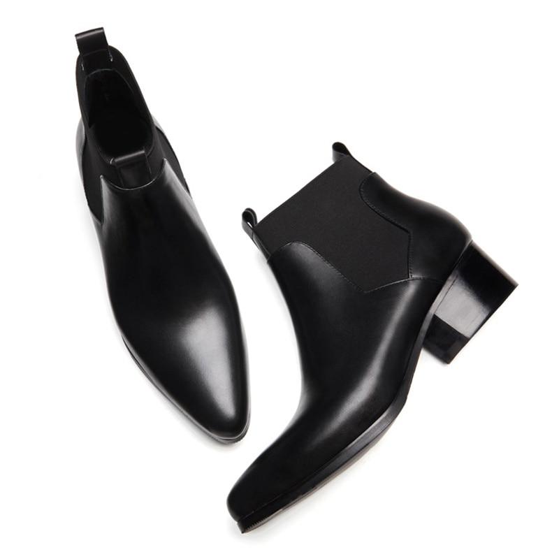 Genuíno Salto Dedo Dos Cowboy Alto Ss280 Sapatos Chelsea Homem Boots Couro Do Equitação Nova Chegada Ankle Casamento Designer Pé Pontas Preto De Homens OqzvSc8T
