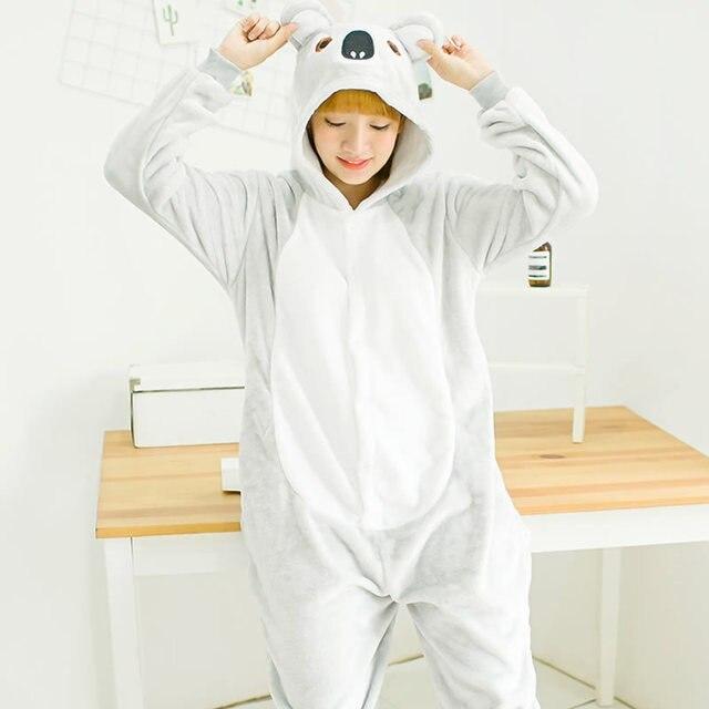 Для женщин взрослых Единорог пижамы милые Косплей Животных Коала Единорог  Пижама Фланелевая пижама с длинным рукавом f8b8feec58c0d