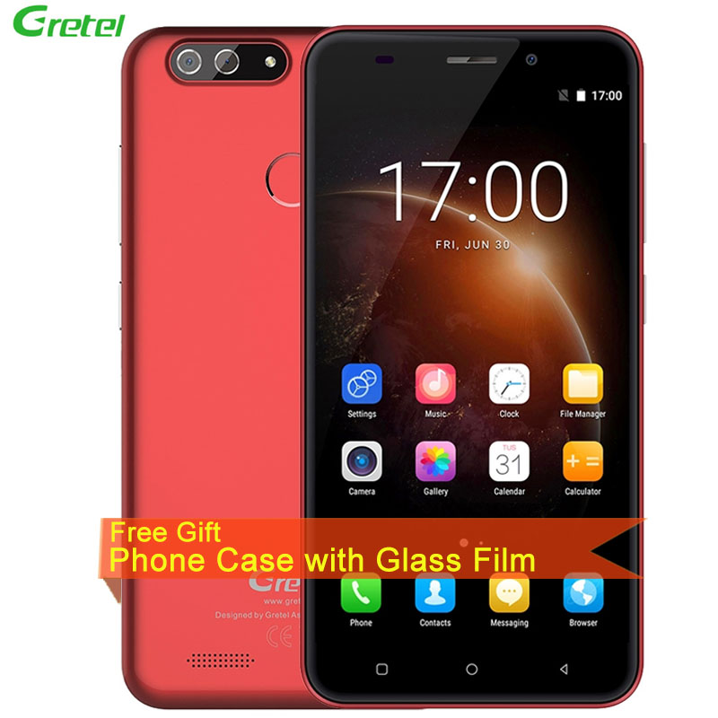 Gretel S55 1GB+16GB Dual Back Cameras Fingerprint Identification 5.5'' Android 7.0 MTK6580A Quad Core up to 1.3GHz 3G Smartphone