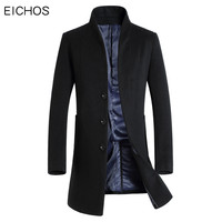 EICHOS Autumn Men's Wool Coat Slim Middle Long Mens Coats Causal Solid Male Overcoats Cashmere Trench Coat Men Wool Blend 2018