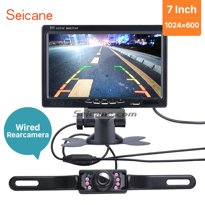 Seicane 1024*600 Universal 7 Inch Car Monitor Auto Digital Video Recoder DVR TFT LCD Display AV with Wire Rearview Camera free