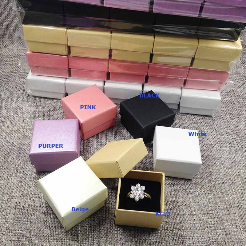 2017 New Kraft Ring Box High Quality  Purple Beige Black/White Ring Box  Packing Ring Pearl  Shinny Of Pink , Beige , White ,