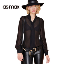 asmax Apparel 2017 Summer Women Shirts Blouse Sexy Sheer Chiffon Loose Female Shirts Streetwear Brief Style Ladies Blouse