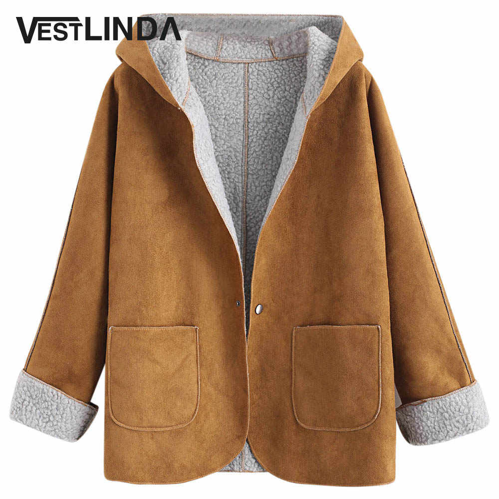 97ca879b4ca Suede Jacket Coat Winter Warm Overcoat Faux Leather Jackets Women Clothing  Ladies Coats Cuffed Sleeves Hooded
