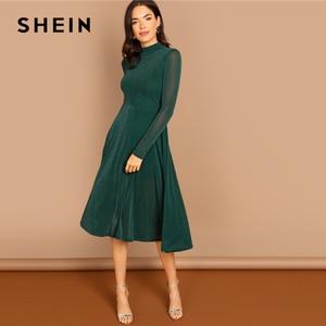 Image 4 - SHEIN Yeşil Parti Katı Mock Boyun Glitter Fit Ve Flare Standı Yaka uzun kollu elbise Sonbahar Kadın Zarif Elbiseler