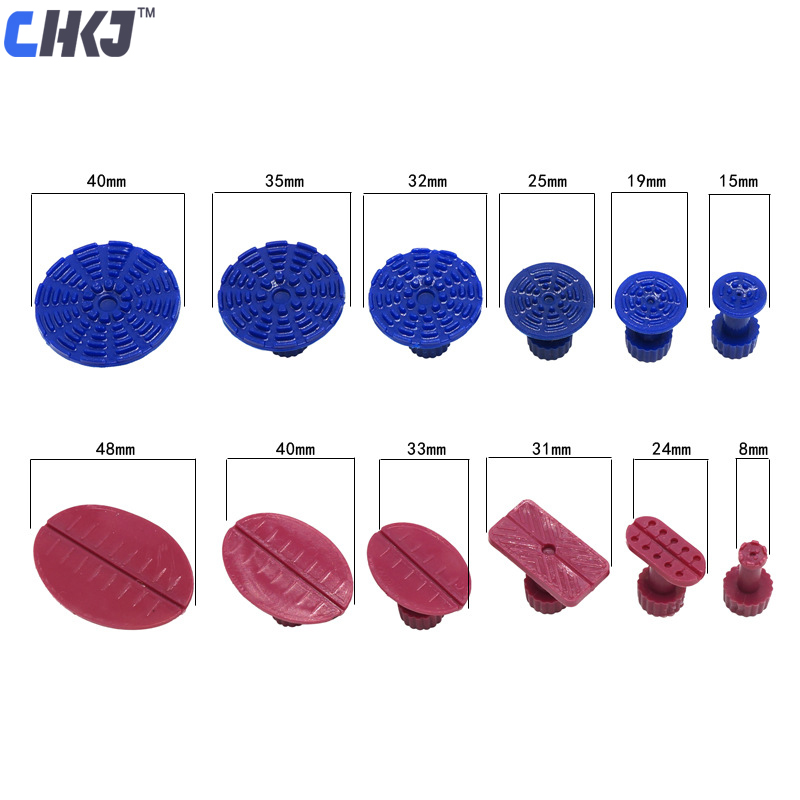 CHKJ 12pcs/lot Car Paintless Dent Repair PDR Puller Tools Plastic Glue Tabs Removal Set Dent Repair Suction Caps