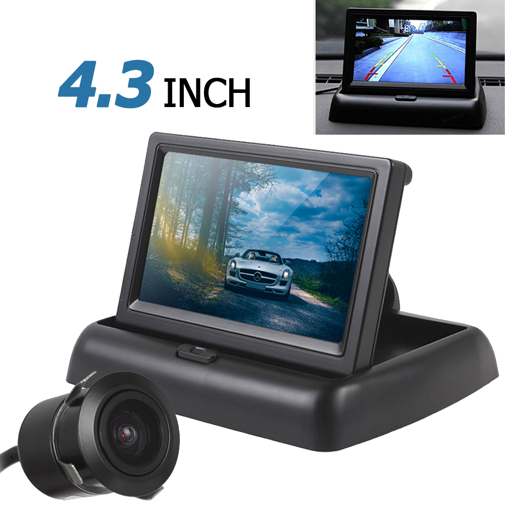 4.3 Inch 480 x 272 Auto Car Rear View Monitor Parking Assistance 2 Video Input + 420TVL 18mm Lens Reverse Backup Rearview Camera