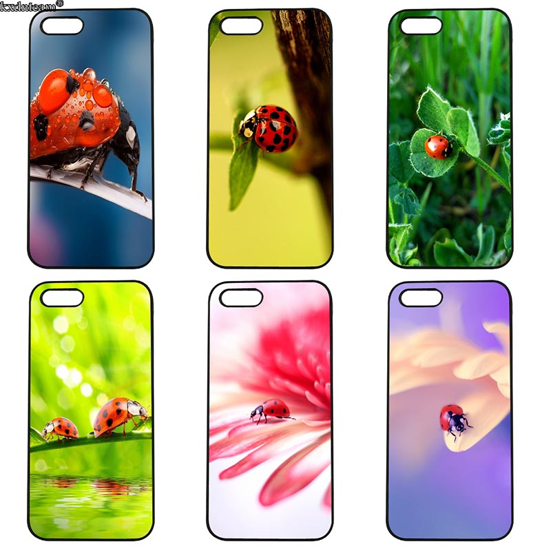 Red Lady Bug Ladybug Phone Case Hard Half Wrapped Cover Fitted for iphone 8 7 6 6S Plus X 5S 5C 5 SE 4 4S iPod Touch 4 5 6 Shell