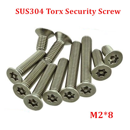 100pcs M2*8 Countersunk Torx Screw Stainless Steel Flat Head Tamper Resistant Proof Security Screws--1pcs Free Screw Driver Supplement The Vital Energy And Nourish Yin