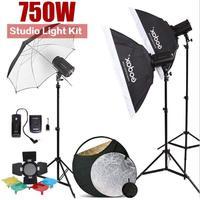 750W GODOX 3 x 250W 200DI Compact Flash Strobe Studio Lighting Head Kit