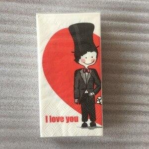 Image 5 - Vintage Servet Papier Tissue Gedrukt Rode Liefde Hart Bruid Bruidegom Voor Ooit Kleine Zakdoek Bruiloft Servetten Partij 2 Packs = 20 Pcs