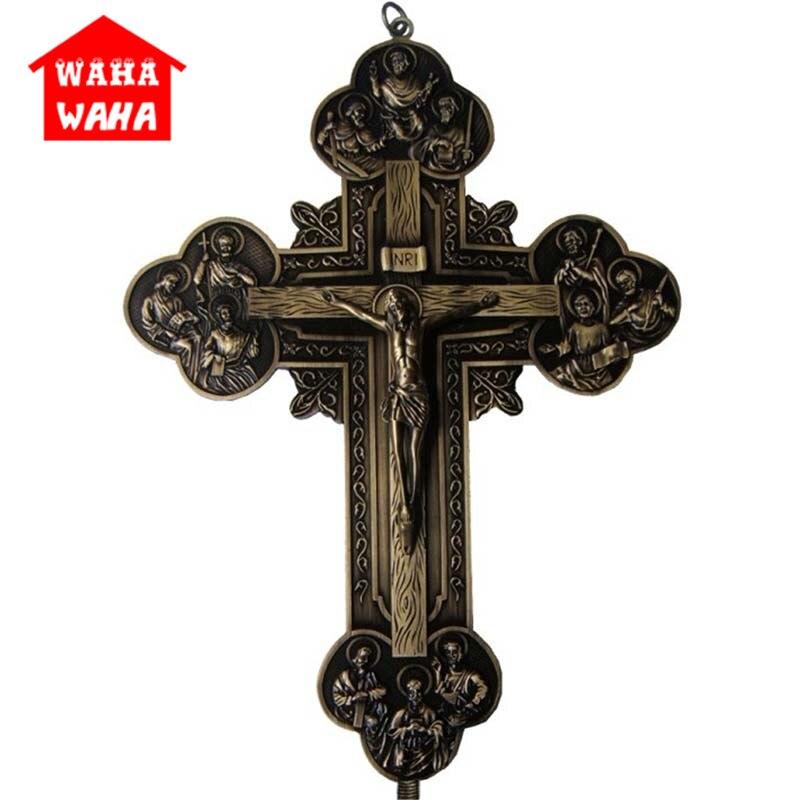 32,5 Cm Wand Kreuz Carving Die Zwölf Apostel Icon Jesus Kreuz Anhänger Ornamente Jesu Kruzifix Rood Lamm Von Gott Inri Schreibtisch Dekor