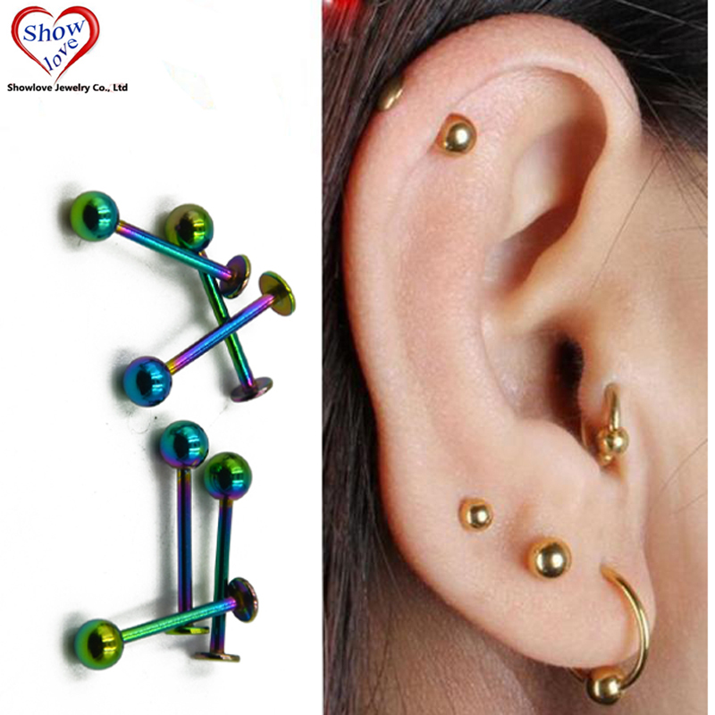 Showlove-10Pcs Rainbow Anodized Labret Rings Retainer Lip Ear Studs Piercing Body Jewelry