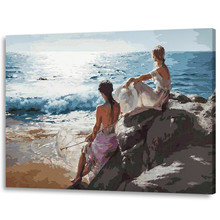 RIHE Beach and girl Painting By Numbers Kit On Canvas, DIY Acrylic Paint Number Modern Home Wall Decor Picture