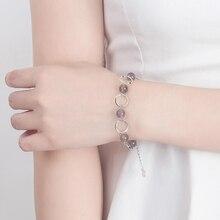 KOFSAC Latest 925 Sterling Silver Bracelets Lady Gifts Natural Crystal Gray Round Circle Bangle Women Jewelry Anniversary