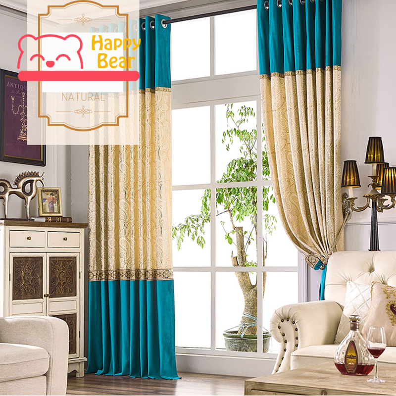 Home Textile Blackout Curtain Flat Window Flannel Gold Blocking Curtain High Shading Modern Decorative Curtain Customized