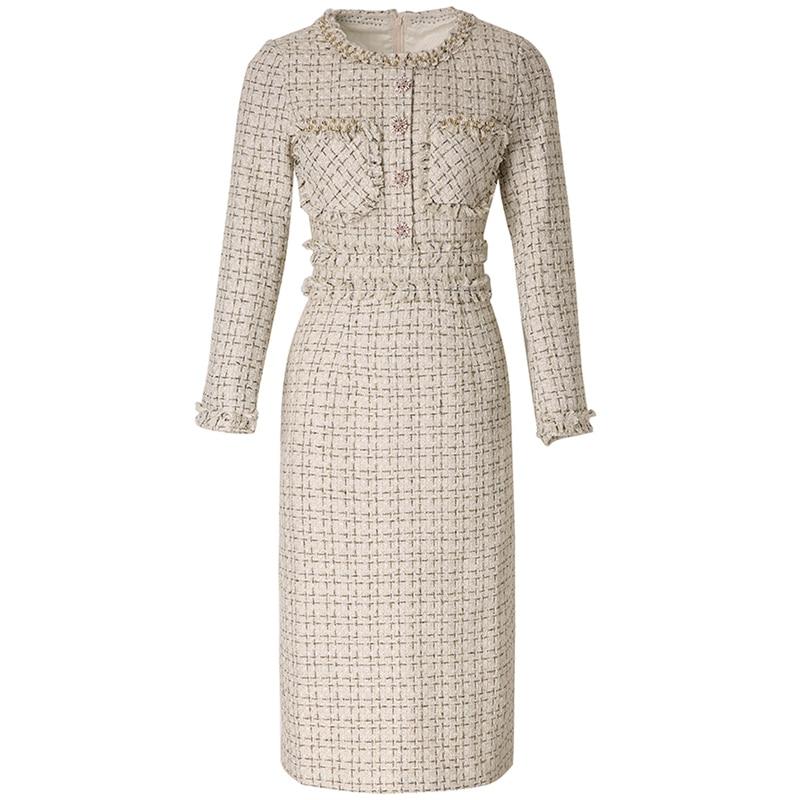 New Designer 2019 European Women Luxurious Manual Beads Round Collar Long Sleeve Knitted Tweed Slim Pencil Dress