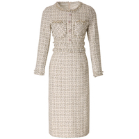 New Designer 2019 European Women Luxurious Manual Beads Round Collar Long Sleeve Knitted Tweed Slim Pencil Dress