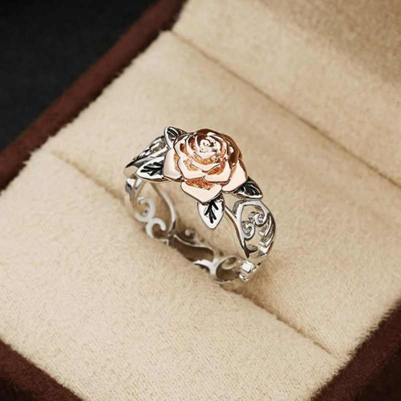 Flower Rose Gold Wedding Rings for Women Engagement Hollow Ring for Female Jewelry