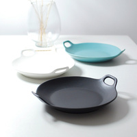 Round double ears Matte under glazed ceramic strengthen porcelain baking dish baking pan bread creative bakeware bakery tools