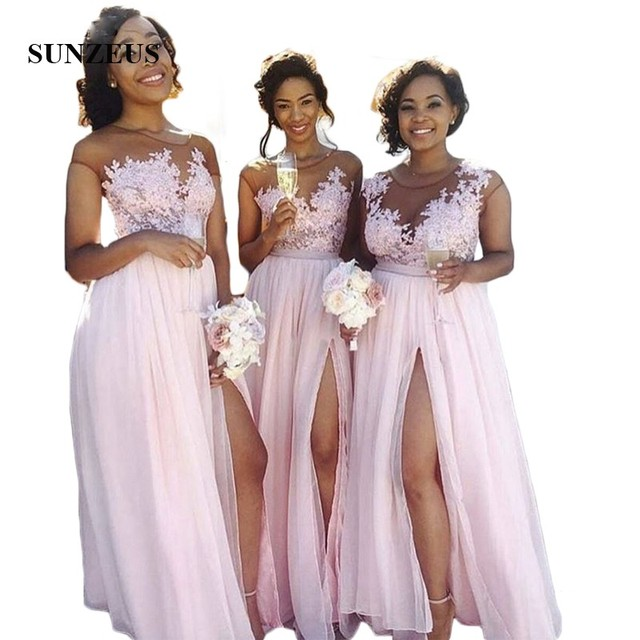 A-line Cap Sleeve Pink Bridesmaid Dresses With Appliques Africa Black Grils Long Wedding Party Dress Abito Damigella SAU858