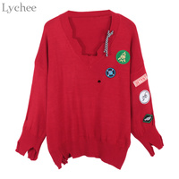 Lychee Spring Autumn Sexy Women Sweater V Neck Hole Patch Long Sleeve Casual Loose Pullover