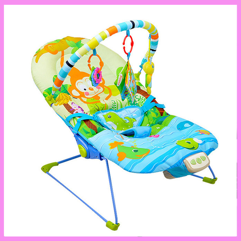 Baby Music Vibration Rocking Chair Toys Comfort Play Music Baby Cradle Swing Chair Sleep Lounge Wholesale newborn baby rocking chair comfort toddler cradle deck chair sleeping swing lounge chair bouncers with music pillow summer mat