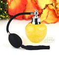 Yellow Art Cyrstal Glass Perfume Bottle w/Black Long Spray Atomizer Gift 80ml