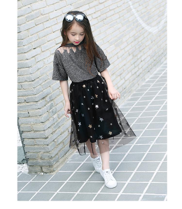 76d871818685 Teen Girls' Wear Short Sleeve T-Shirt+Net Yarn Skirt Two-piece Clothing Set  Summer Suits Lace Tops Tutu Dress for Teens Outfits