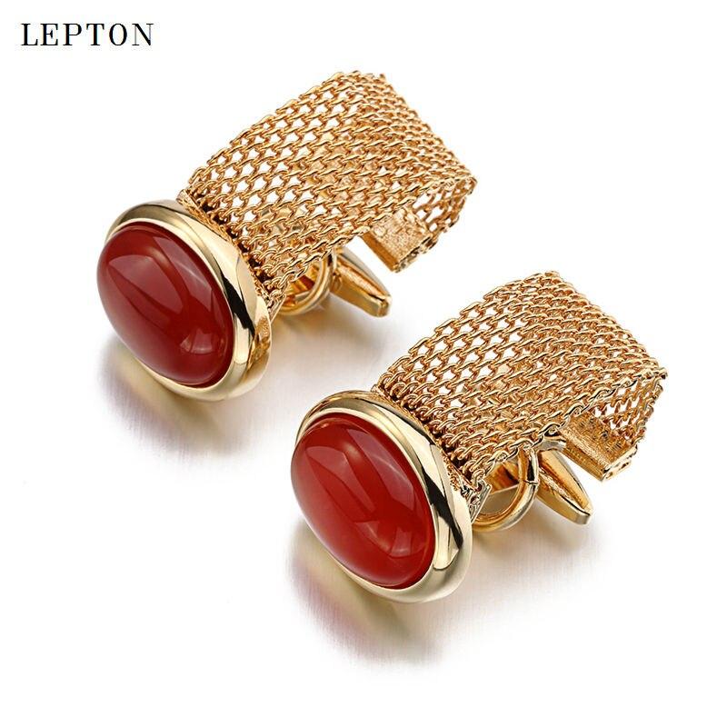 Hot Luxury Red Onyx Cufflinks For Mens Lepton Brand Men Shirt Cuffs Cufflink High Quality Ellipse Stone Cuff Links Gemelos