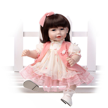 52CM Shoulder Length Hair Reborn Toddler Baby Girl Princess Girl Baby Doll in Pink Lace Dress Girls Toys Birthday Gifts