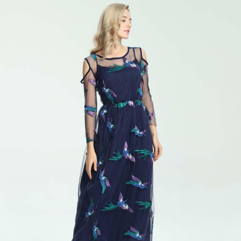 2018 New Fashion Maxi Dress Womens Long Sleeve Noble Luxurious Phoenixs Embroidery Layered Tulle Elegant Long Runway Dresses