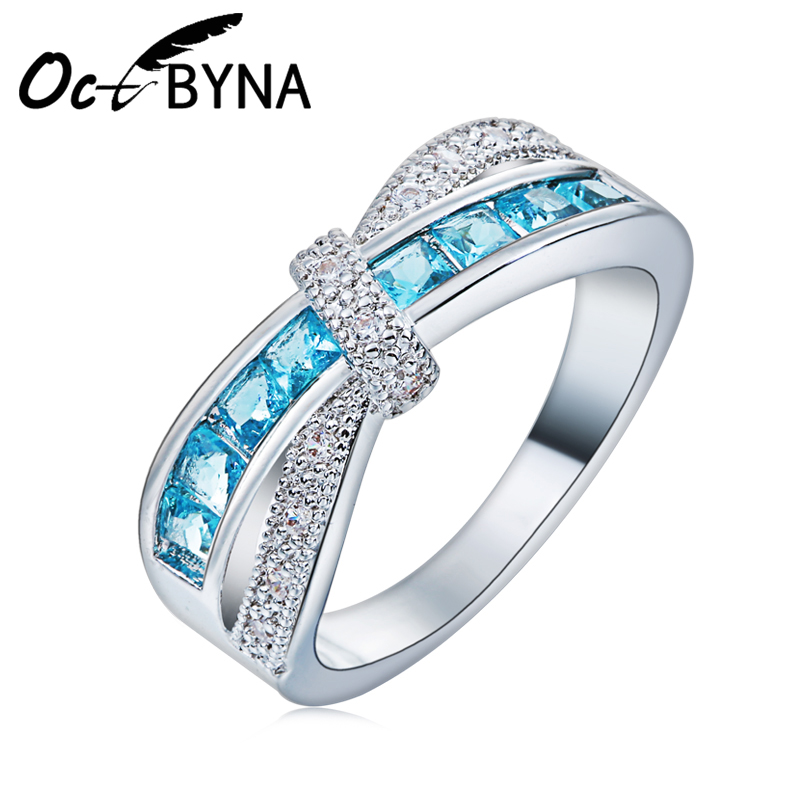 Octbyna Cross Finger Ring for Lady Paved Cz Zircon Luxury Hot Princess Women Wedding Engagement Ring Blue Pink Color Jewelry