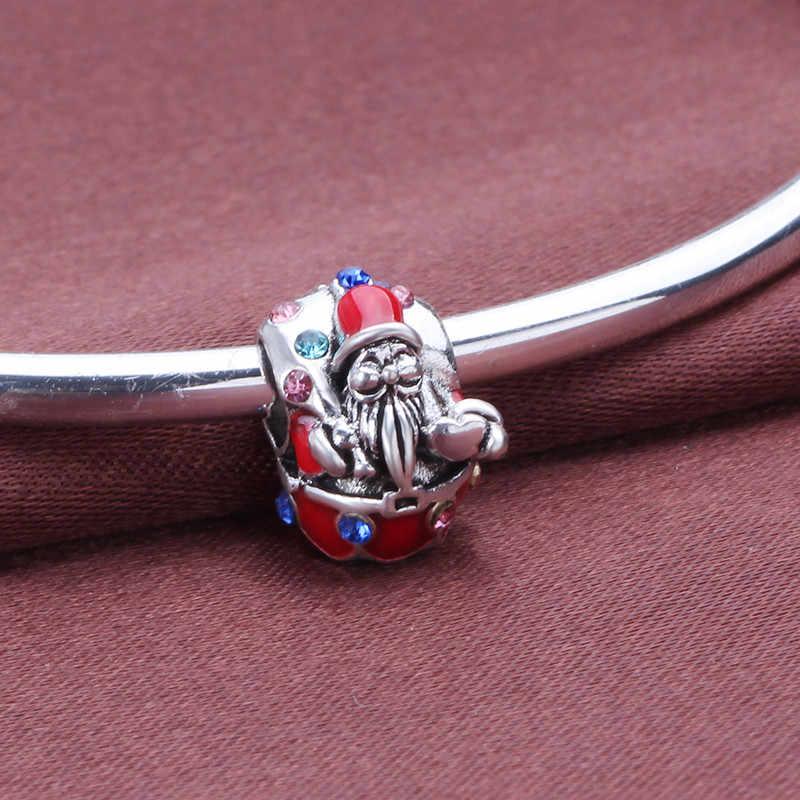 Dodocharms prezenty kolor srebrny czerwone jabłko święty mikołaj dynda dzwonki bożonarodzeniowe wisiorki koraliki Fit Pandora bransoletki DIY biżuteria