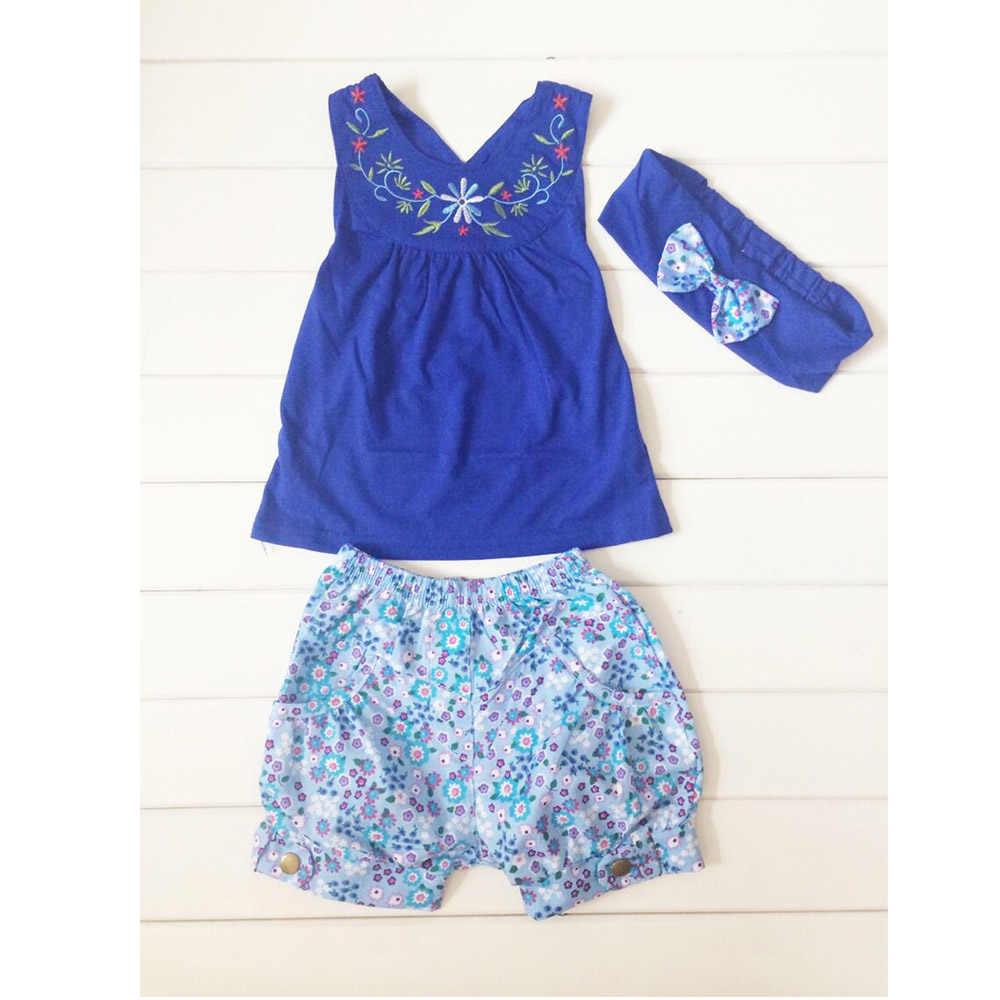 2015 nowe dziewczyny kamizelka + spodnie + opaska do włosów trzyczęściowy niebieski garnitur dziecko lato garnitur kostiumy dla dzieci CL0770