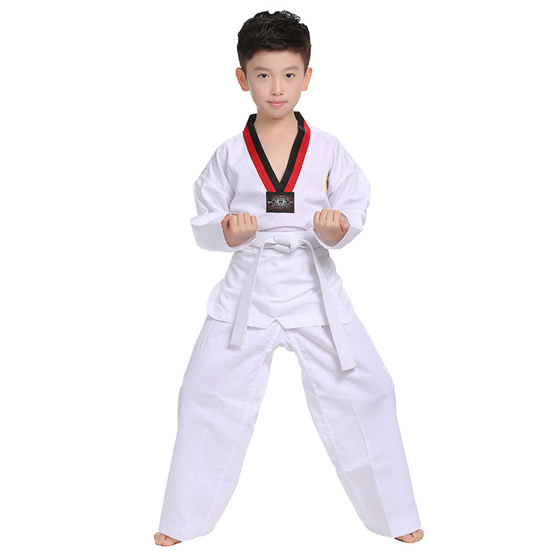 Taekwondo Uniform Traditional White Children Adult Unisex Long Sleeve Dobok Clothes Suits WTF Karate
