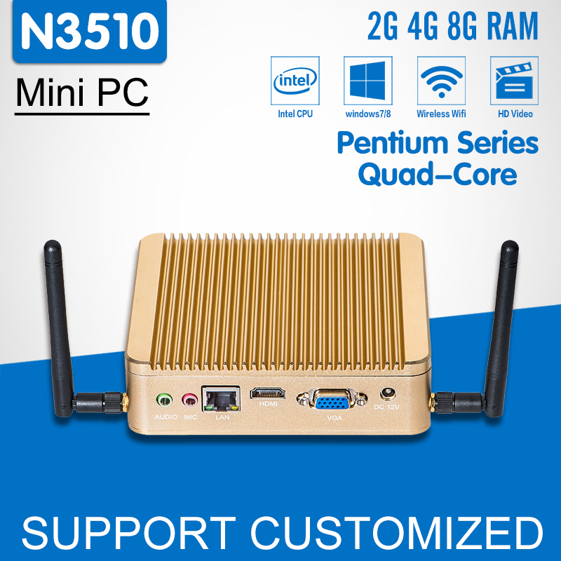 Intel Pentium N3510 Quad Core 2.0GHz Mini PC Windows 10 Fanless Mini Computer HTPC HDMI TV Box Office Computer Desktop xcy mini pc core i3 6100u hd graphics 520 2 30ghz dual core gaming pc htpc 4k hdmi tv ddr4 300m wifi windows 10 fanless