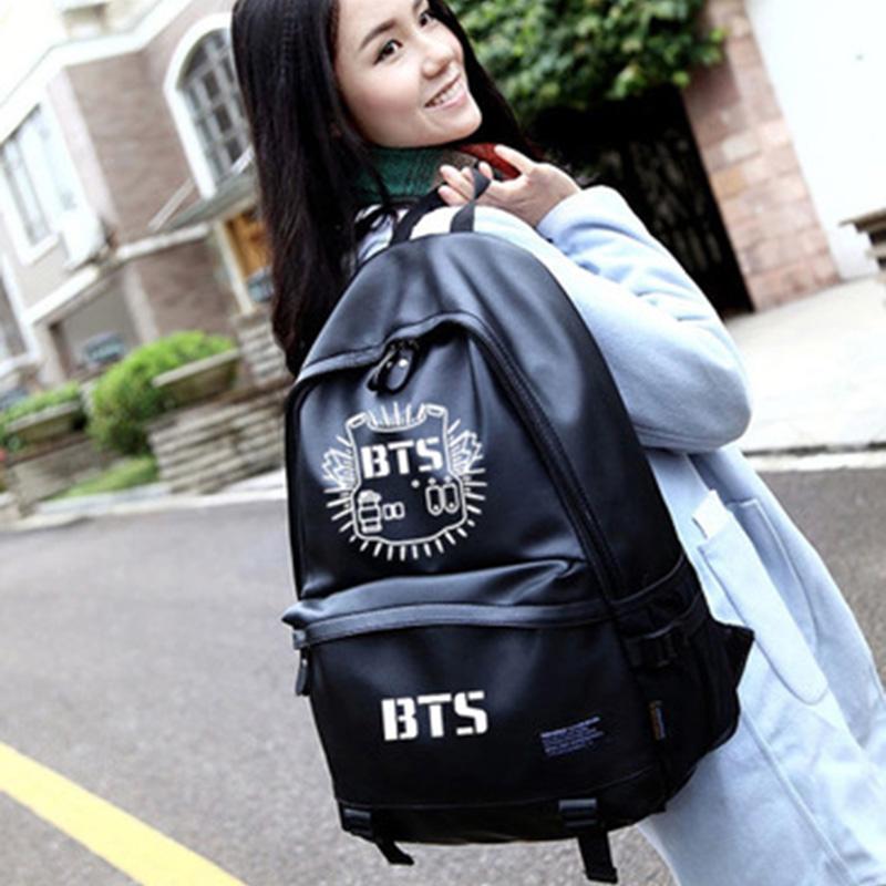 Women BTS Backpack Luminous PU Leather Female Backpacks Waterproof Boys Girls School Bags Teenager Schoolbag Mochila BP0172 (18)