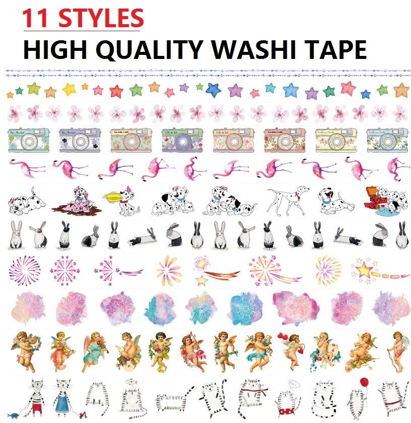11Designs Flowers/Angel/Stars/Dogs/Cat/Flamingo/Camera Pattern Japanese Washi Decorative Adhesive DIY Masking Paper Tape Sticker